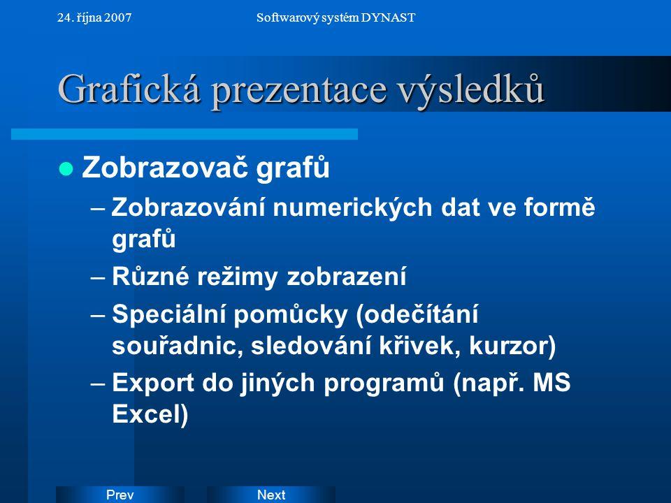 NextPrev 24. října 2007Softwarový systém DYNAST Grafická prezentace výsledků Zobrazovač grafů –Zobrazování numerických dat ve formě grafů –Různé režim