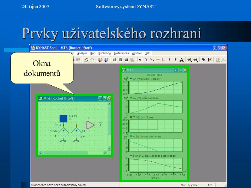 NextPrev 24. října 2007Softwarový systém DYNAST Prvky uživatelského rozhraní Roletové menu