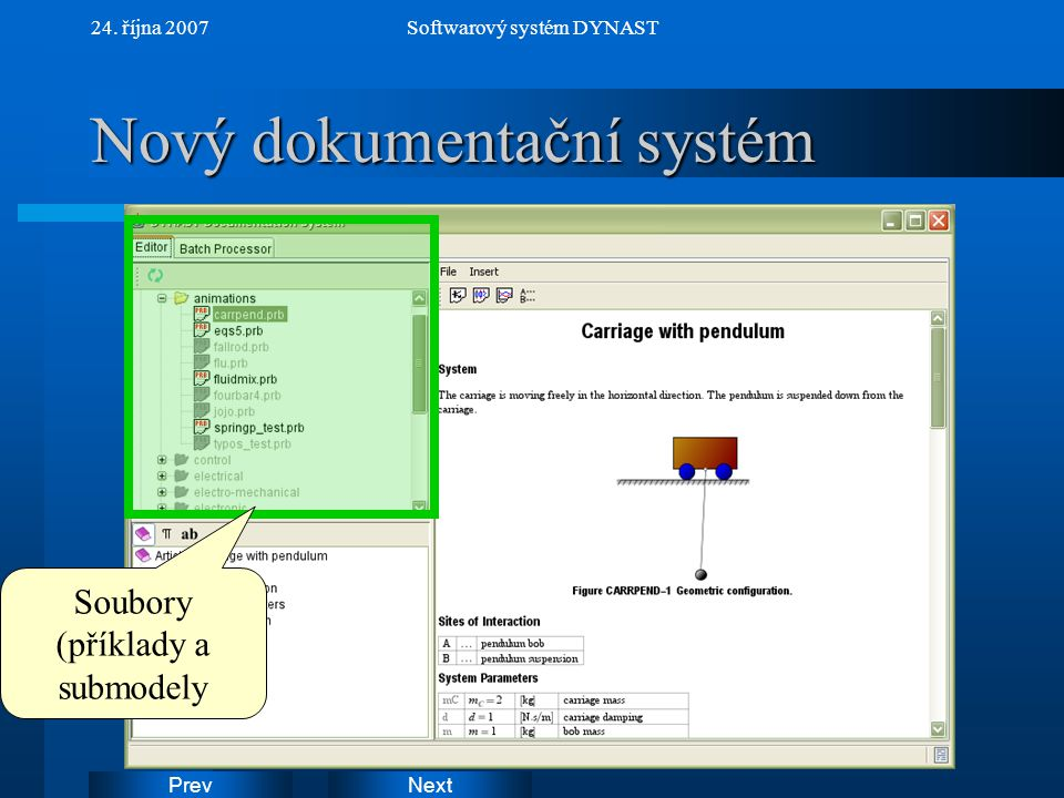 NextPrev 24. října 2007Softwarový systém DYNAST Nový dokumentační systém Soubory (příklady a submodely