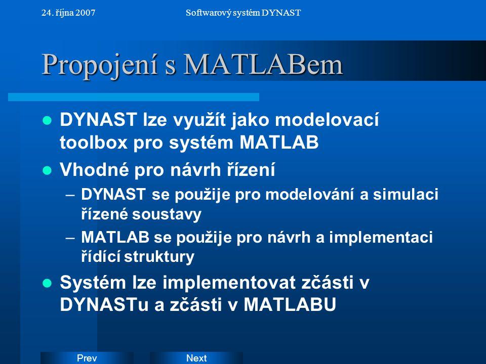 NextPrev 24. října 2007Softwarový systém DYNAST Propojení s MATLABem DYNAST lze využít jako modelovací toolbox pro systém MATLAB Vhodné pro návrh říze