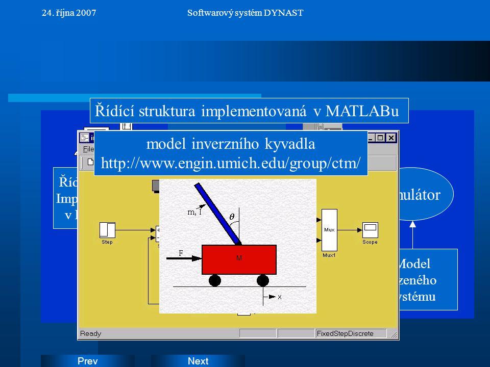 NextPrev 24. října 2007Softwarový systém DYNAST Řídící struktura Implementovaná v MATLABu Model řízeného systému simulátor Řídící struktura implemento