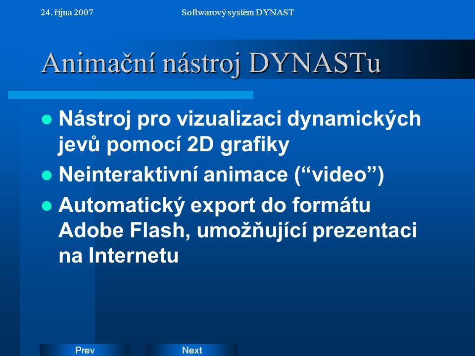 NextPrev 24. října 2007Softwarový systém DYNAST Animační nástroj DYNASTu Nástroj pro vizualizaci dynamických jevů pomocí 2D grafiky Neinteraktivní ani