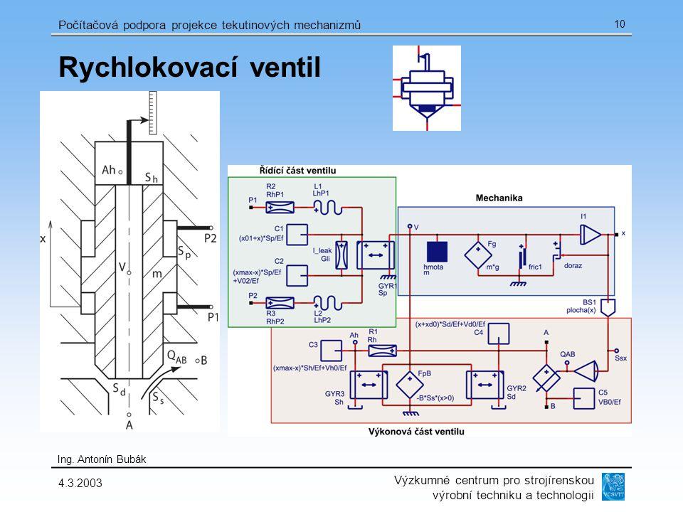Výzkumné centrum pro strojírenskou výrobní techniku a technologii Ing. Antonín Bubák Počítačová podpora projekce tekutinových mechanizmů 4.3.2003 10 R