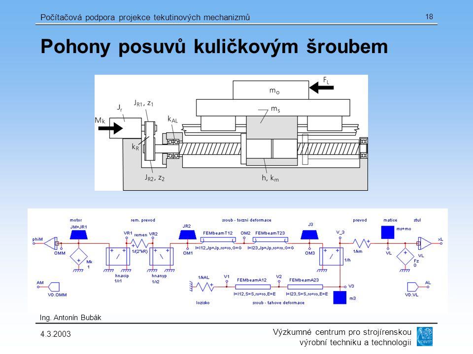 Výzkumné centrum pro strojírenskou výrobní techniku a technologii Ing. Antonín Bubák Počítačová podpora projekce tekutinových mechanizmů 4.3.2003 18 P