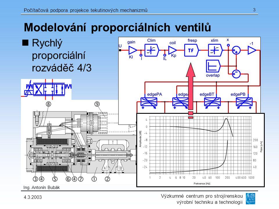 Výzkumné centrum pro strojírenskou výrobní techniku a technologii Ing. Antonín Bubák Počítačová podpora projekce tekutinových mechanizmů 4.3.2003 3 Mo