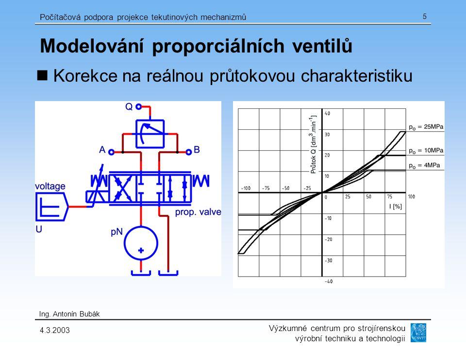 Výzkumné centrum pro strojírenskou výrobní techniku a technologii Ing. Antonín Bubák Počítačová podpora projekce tekutinových mechanizmů 4.3.2003 5 Mo
