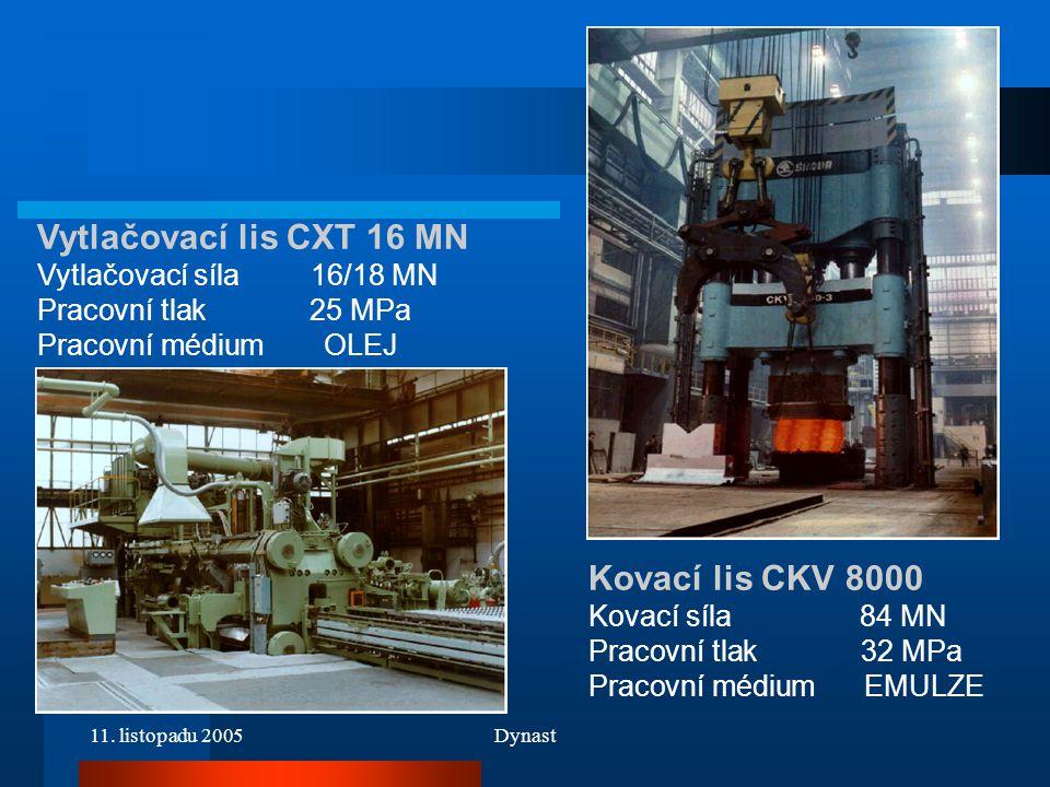 11. listopadu 2005Dynast Vytlačovací lis CXT 16 MN Vytlačovací síla 16/18 MN Pracovní tlak 25 MPa Pracovní médium OLEJ Kovací lis CKV 8000 Kovací síla