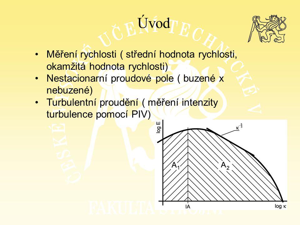Úvod Měření rychlosti ( střední hodnota rychlosti, okamžitá hodnota rychlosti) Nestacionarní proudové pole ( buzené x nebuzené) Turbulentní proudění (