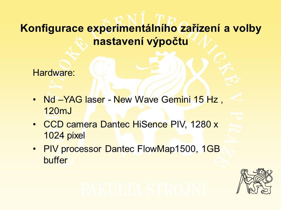 Konfigurace experimentálního zařízení a volby nastavení výpočtu Hardware: Nd –YAG laser - New Wave Gemini 15 Hz, 120mJ CCD camera Dantec HiSence PIV,