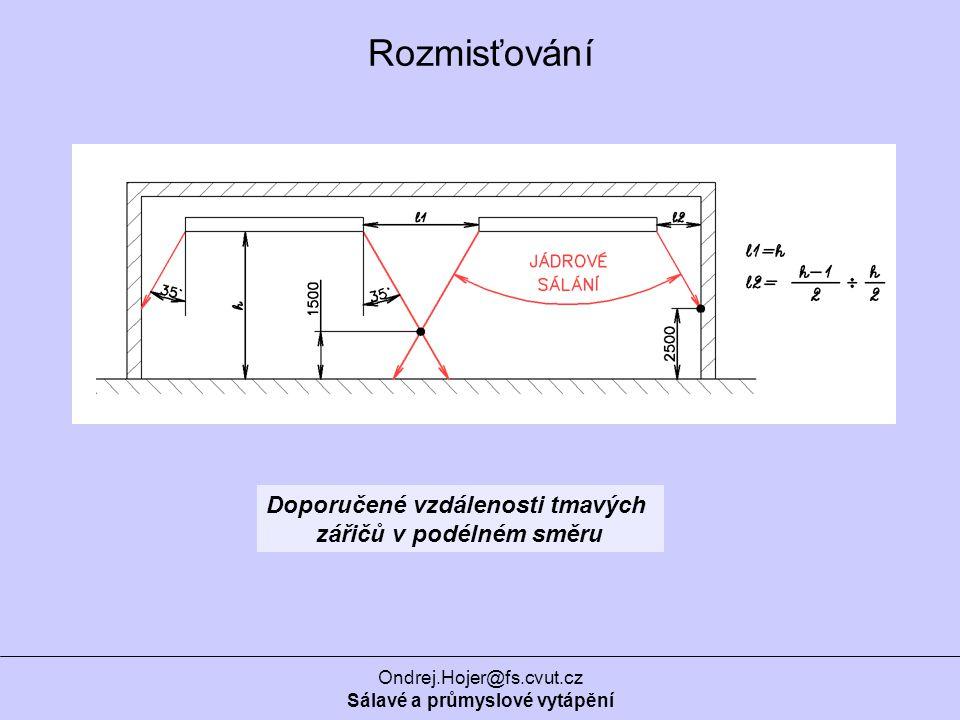 Ondrej.Hojer@fs.cvut.cz Sálavé a průmyslové vytápění Doporučené vzdálenosti tmavých zářičů v podélném směru Rozmisťování
