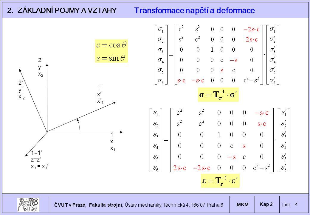 4 ČVUT v Praze, Fakulta strojní, Ústav mechaniky, Technická 4, 166 07 Praha 6 MKM List 4 Kap 2 2.