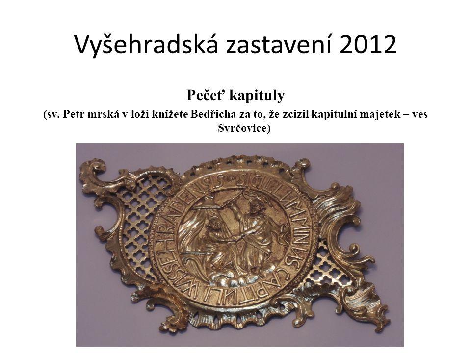 Pečeť kapituly (sv. Petr mrská v loži knížete Bedřicha za to, že zcizil kapitulní majetek – ves Svrčovice)