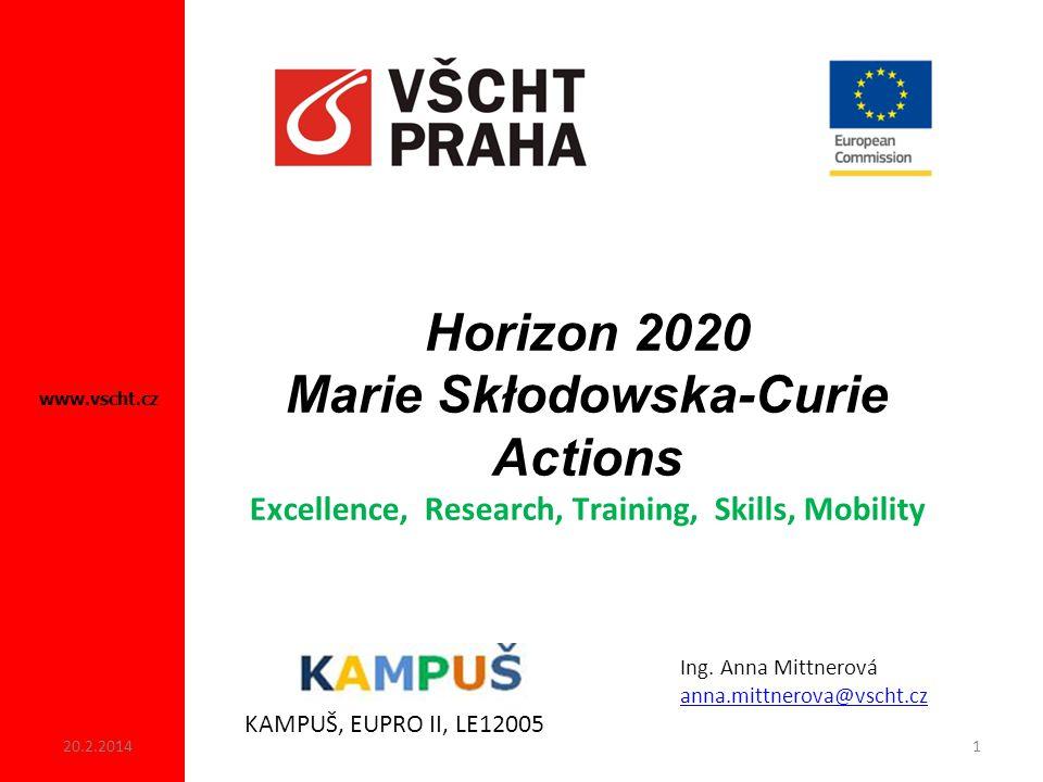 Horizon 2020 Marie Skłodowska-Curie Actions Excellence, Research, Training, Skills, Mobility www.vscht.cz KAMPUŠ, EUPRO II, LE12005 Ing.