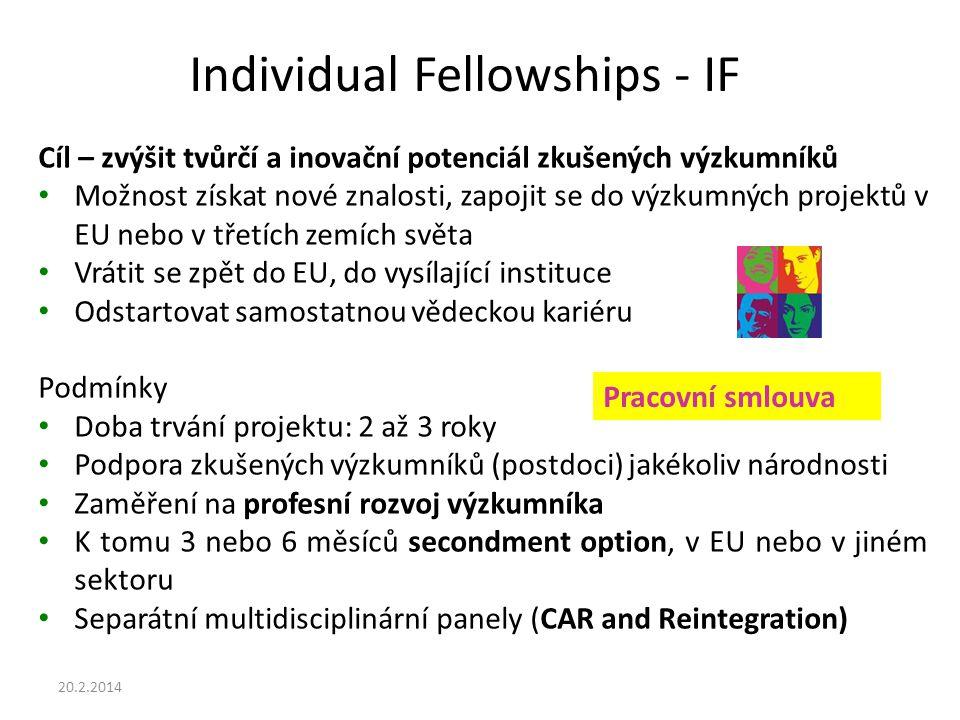 Individual Fellowships - IF Cíl – zvýšit tvůrčí a inovační potenciál zkušených výzkumníků Možnost získat nové znalosti, zapojit se do výzkumných projektů v EU nebo v třetích zemích světa Vrátit se zpět do EU, do vysílající instituce Odstartovat samostatnou vědeckou kariéru Podmínky Doba trvání projektu: 2 až 3 roky Podpora zkušených výzkumníků (postdoci) jakékoliv národnosti Zaměření na profesní rozvoj výzkumníka K tomu 3 nebo 6 měsíců secondment option, v EU nebo v jiném sektoru Separátní multidisciplinární panely (CAR and Reintegration) Pracovní smlouva 20.2.2014