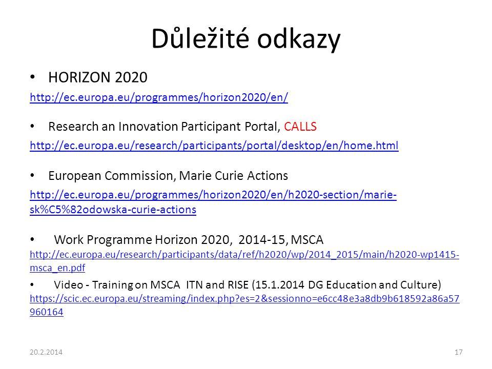 Důležité odkazy HORIZON 2020 http://ec.europa.eu/programmes/horizon2020/en/ Research an Innovation Participant Portal, CALLS http://ec.europa.eu/research/participants/portal/desktop/en/home.html European Commission, Marie Curie Actions http://ec.europa.eu/programmes/horizon2020/en/h2020-section/marie- sk%C5%82odowska-curie-actions Work Programme Horizon 2020, 2014-15, MSCA http://ec.europa.eu/research/participants/data/ref/h2020/wp/2014_2015/main/h2020-wp1415- msca_en.pdf http://ec.europa.eu/research/participants/data/ref/h2020/wp/2014_2015/main/h2020-wp1415- msca_en.pdf Video - Training on MSCA ITN and RISE (15.1.2014 DG Education and Culture) https://scic.ec.europa.eu/streaming/index.php?es=2&sessionno=e6cc48e3a8db9b618592a86a57 960164 https://scic.ec.europa.eu/streaming/index.php?es=2&sessionno=e6cc48e3a8db9b618592a86a57 960164 20.2.201417
