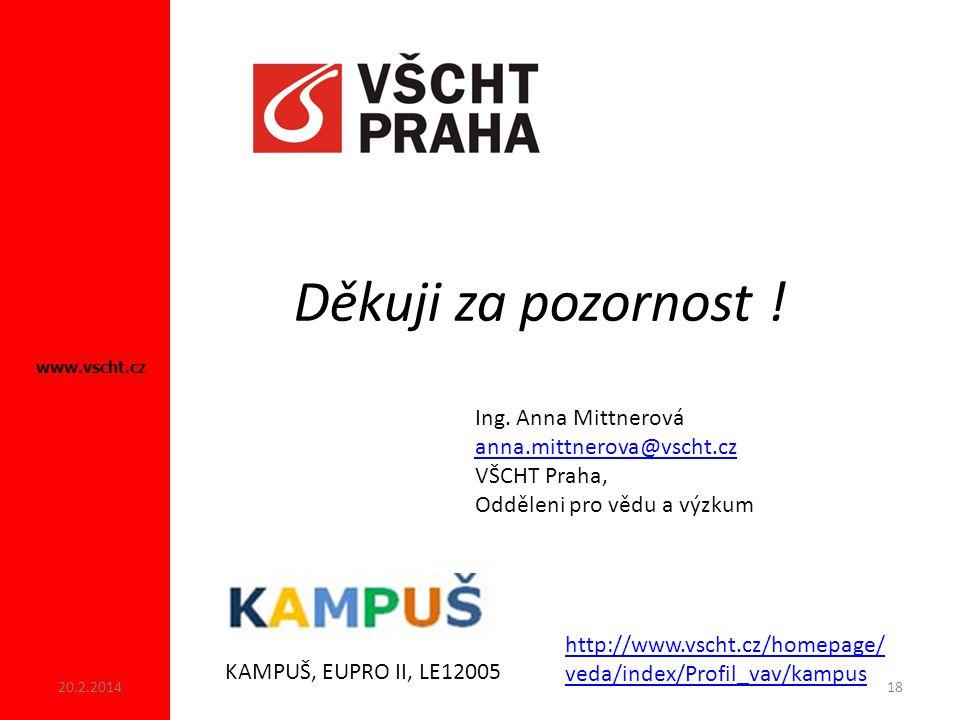Děkuji za pozornost .www.vscht.cz KAMPUŠ, EUPRO II, LE12005 Ing.