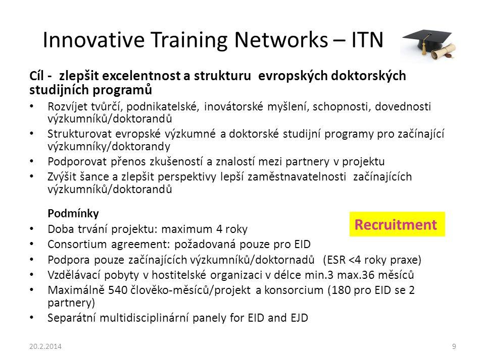 Innovative Training Networks – ITN Cíl - zlepšit excelentnost a strukturu evropských doktorských studijních programů Rozvíjet tvůrčí, podnikatelské, inovátorské myšlení, schopnosti, dovednosti výzkumníků/doktorandů Strukturovat evropské výzkumné a doktorské studijní programy pro začínající výzkumníky/doktorandy Podporovat přenos zkušeností a znalostí mezi partnery v projektu Zvýšit šance a zlepšit perspektivy lepší zaměstnavatelnosti začínajících výzkumníků/doktorandů Podmínky Doba trvání projektu: maximum 4 roky Consortium agreement: požadovaná pouze pro EID Podpora pouze začínajících výzkumníků/doktornadů (ESR <4 roky praxe) Vzdělávací pobyty v hostitelské organizaci v délce min.3 max.36 měsíců Maximálně 540 člověko-měsíců/projekt a konsorcium (180 pro EID se 2 partnery) Separátní multidisciplinární panely for EID and EJD 20.2.20149 Recruitment