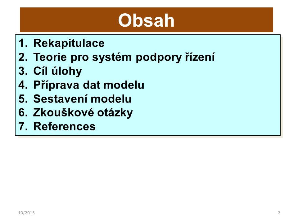 10/20132 Obsah 1.Rekapitulace 2.Teorie pro systém podpory řízení 3.Cíl úlohy 4.Příprava dat modelu 5.Sestavení modelu 6.Zkouškové otázky 7.References 1.Rekapitulace 2.Teorie pro systém podpory řízení 3.Cíl úlohy 4.Příprava dat modelu 5.Sestavení modelu 6.Zkouškové otázky 7.References