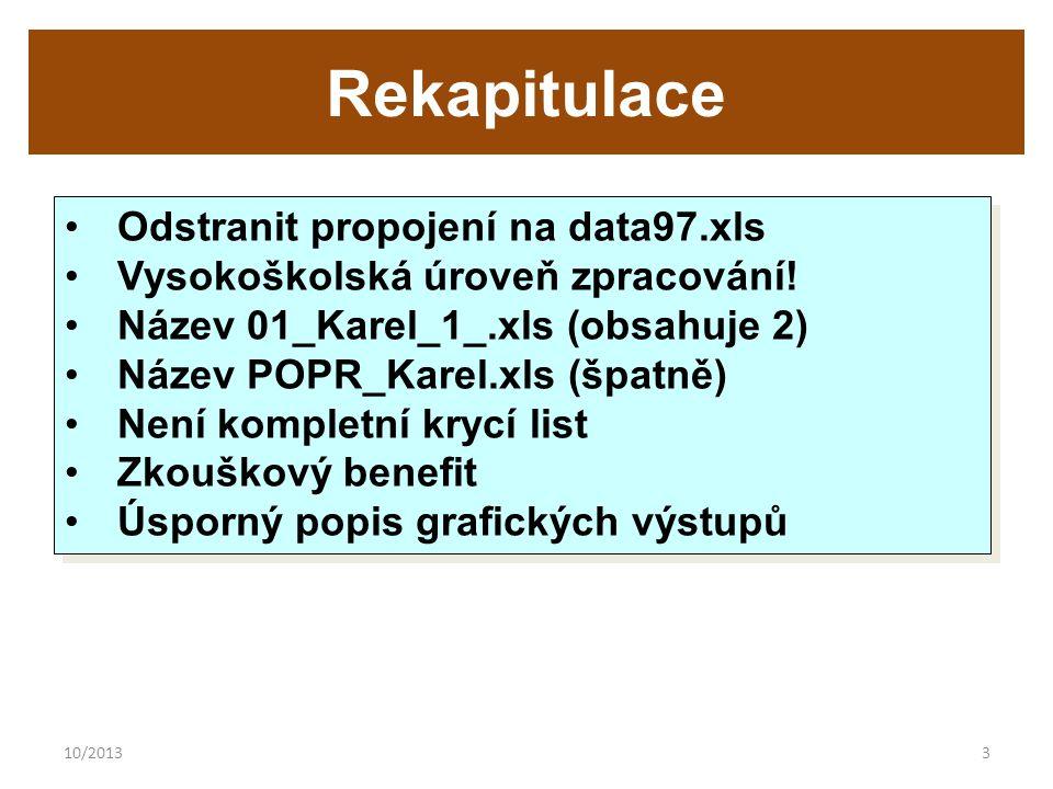 10/20133 Rekapitulace Odstranit propojení na data97.xls Vysokoškolská úroveň zpracování.