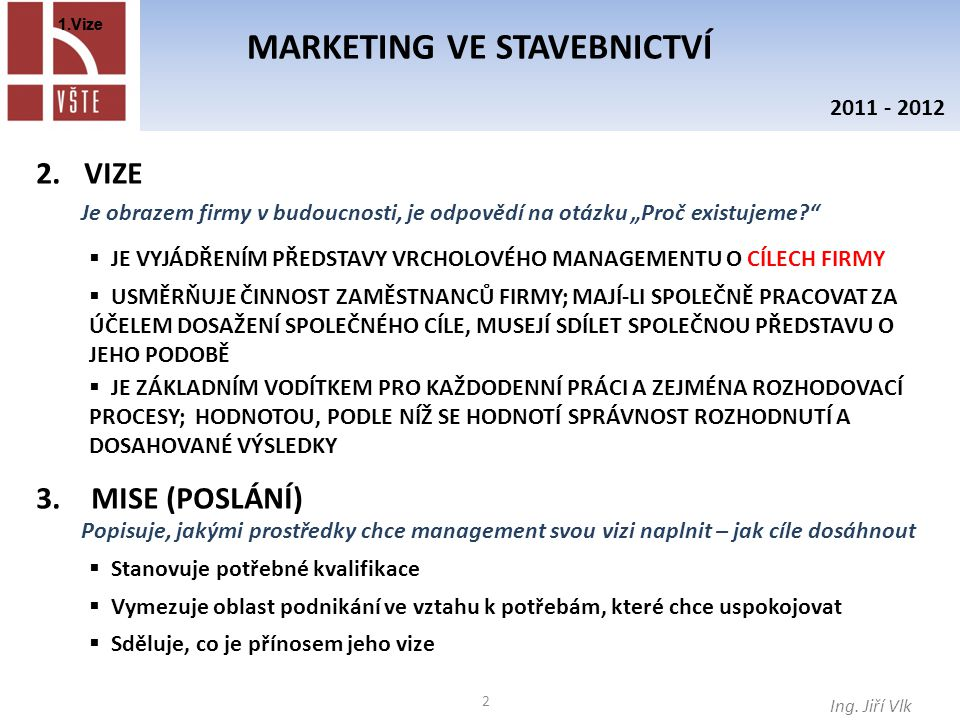 3 MARKETING VE STAVEBNICTVÍ Ing.
