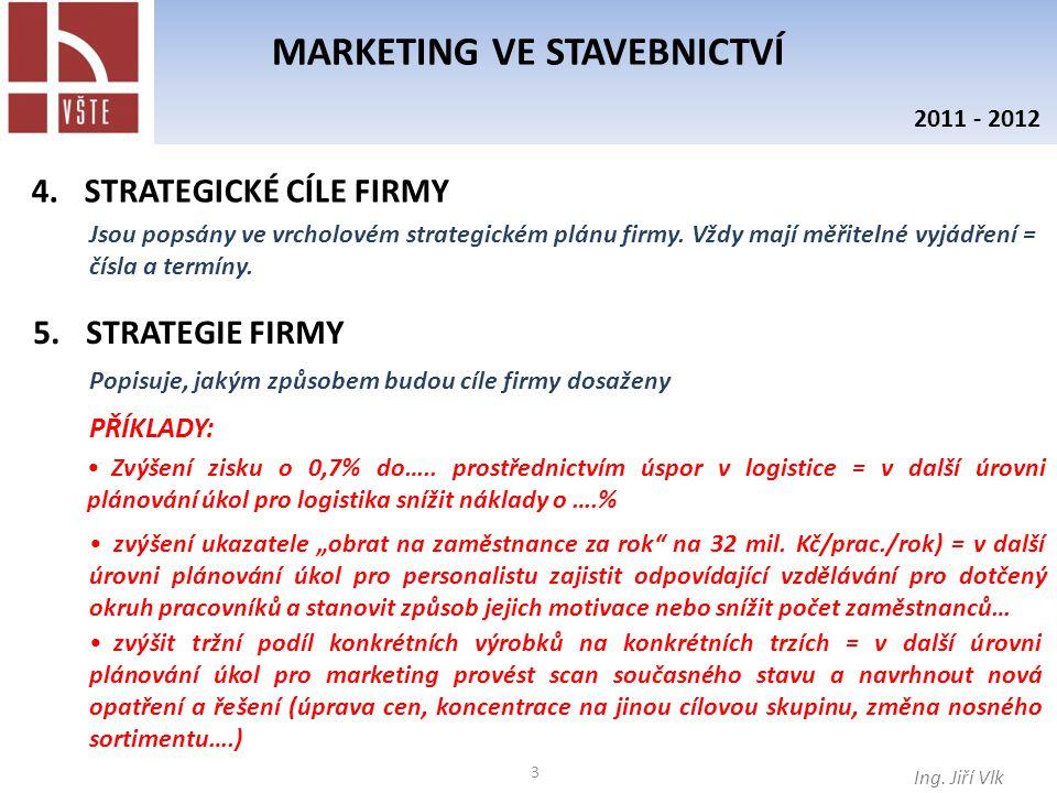 3 MARKETING VE STAVEBNICTVÍ Ing. Jiří Vlk 2011 - 2012 4.STRATEGICKÉ CÍLE FIRMY Jsou popsány ve vrcholovém strategickém plánu firmy. Vždy mají měřiteln