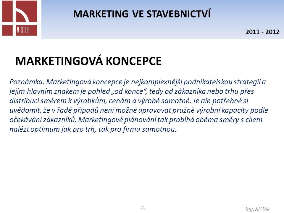 31 MARKETING VE STAVEBNICTVÍ Ing. Jiří Vlk 2011 - 2012 MARKETINGOVÁ KONCEPCE Poznámka: Marketingová koncepce je nejkomplexnější podnikatelskou strateg