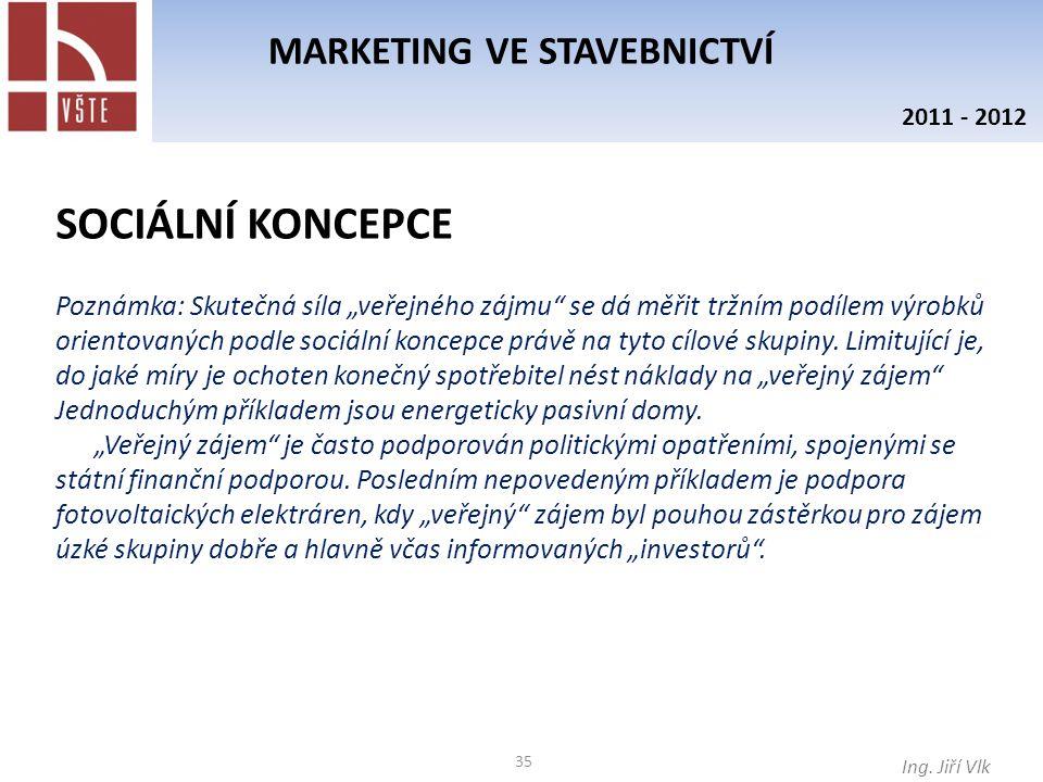 """35 MARKETING VE STAVEBNICTVÍ Ing. Jiří Vlk 2011 - 2012 Poznámka: Skutečná síla """"veřejného zájmu"""" se dá měřit tržním podílem výrobků orientovaných podl"""