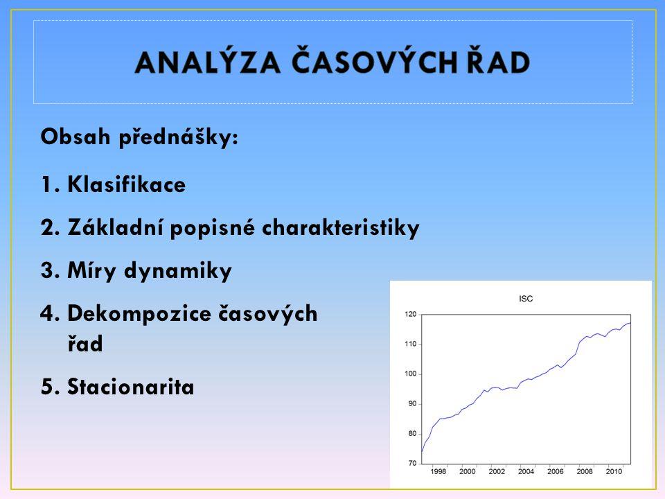 Obsah přednášky: 1. Klasifikace 2. Základní popisné charakteristiky 3. Míry dynamiky 4. Dekompozice časových řad 5. Stacionarita