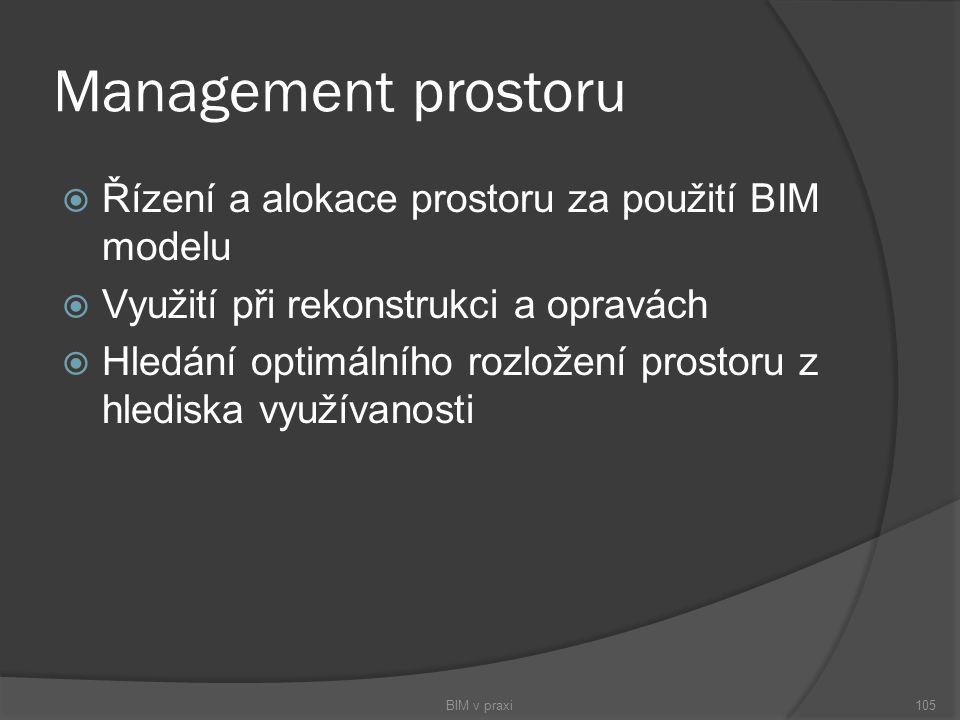 Management prostoru  Řízení a alokace prostoru za použití BIM modelu  Využití při rekonstrukci a opravách  Hledání optimálního rozložení prostoru z