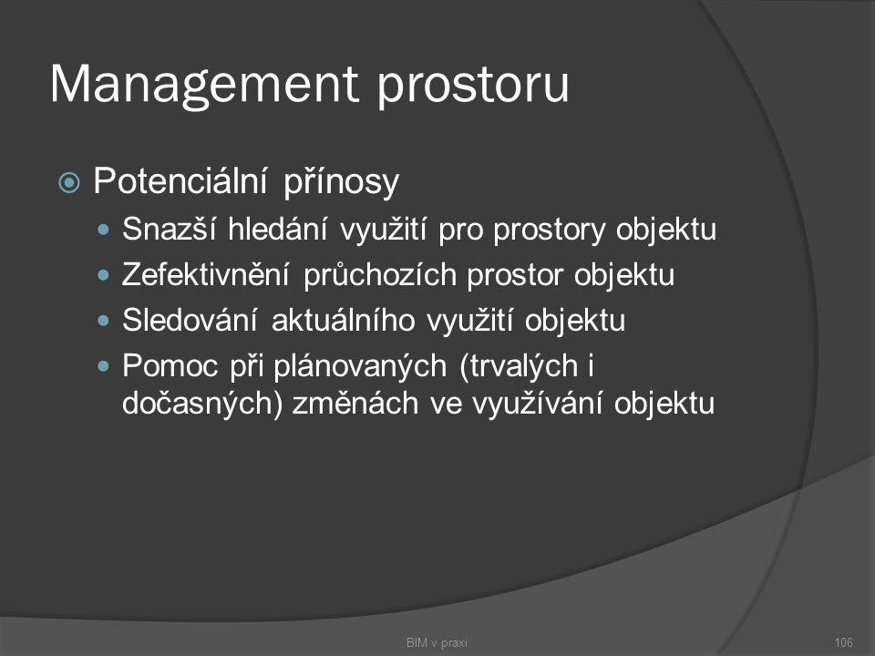 Management prostoru  Potenciální přínosy Snazší hledání využití pro prostory objektu Zefektivnění průchozích prostor objektu Sledování aktuálního vyu