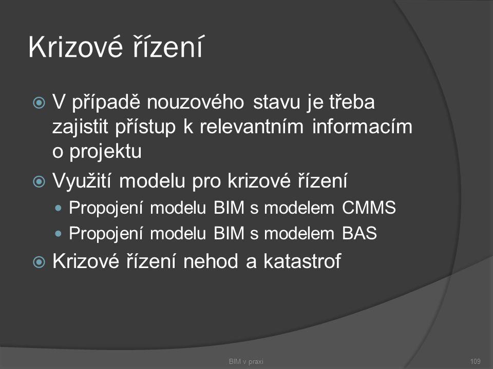  V případě nouzového stavu je třeba zajistit přístup k relevantním informacím o projektu  Využití modelu pro krizové řízení Propojení modelu BIM s m