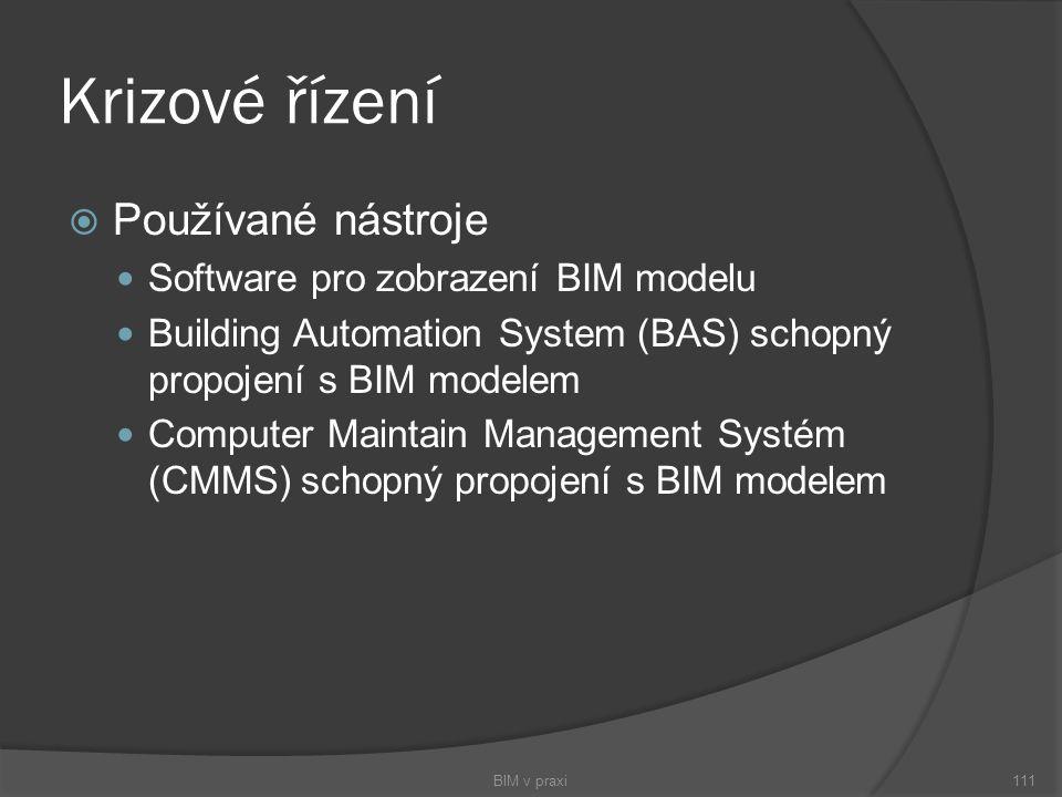 Krizové řízení  Používané nástroje Software pro zobrazení BIM modelu Building Automation System (BAS) schopný propojení s BIM modelem Computer Mainta