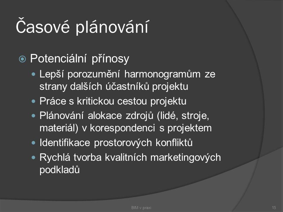 Časové plánování  Potenciální přínosy Lepší porozumění harmonogramům ze strany dalších účastníků projektu Práce s kritickou cestou projektu Plánování