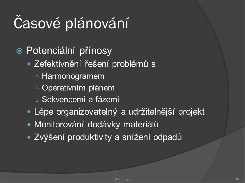 Časové plánování  Potenciální přínosy Zefektivnění řešení problémů s ○ Harmonogramem ○ Operativním plánem ○ Sekvencemi a fázemi Lépe organizovatelný