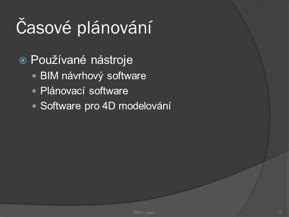 Časové plánování  Používané nástroje BIM návrhový software Plánovací software Software pro 4D modelování BIM v praxi17