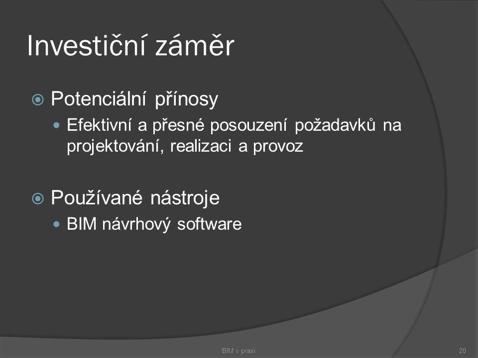 Investiční záměr  Potenciální přínosy Efektivní a přesné posouzení požadavků na projektování, realizaci a provoz  Používané nástroje BIM návrhový so