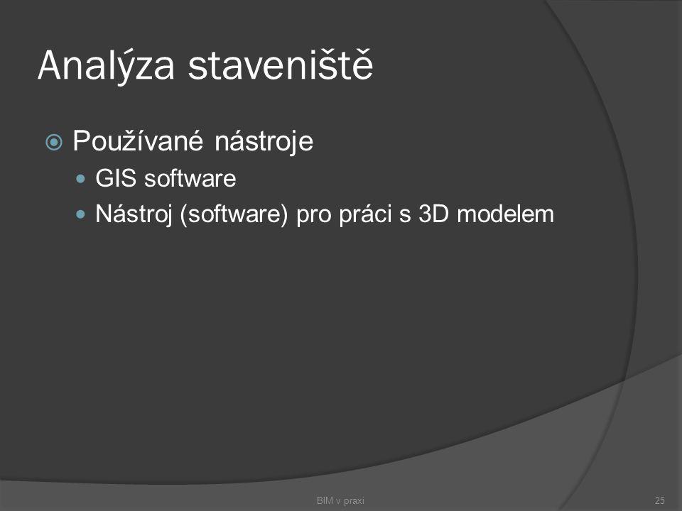 Analýza staveniště  Používané nástroje GIS software Nástroj (software) pro práci s 3D modelem BIM v praxi25