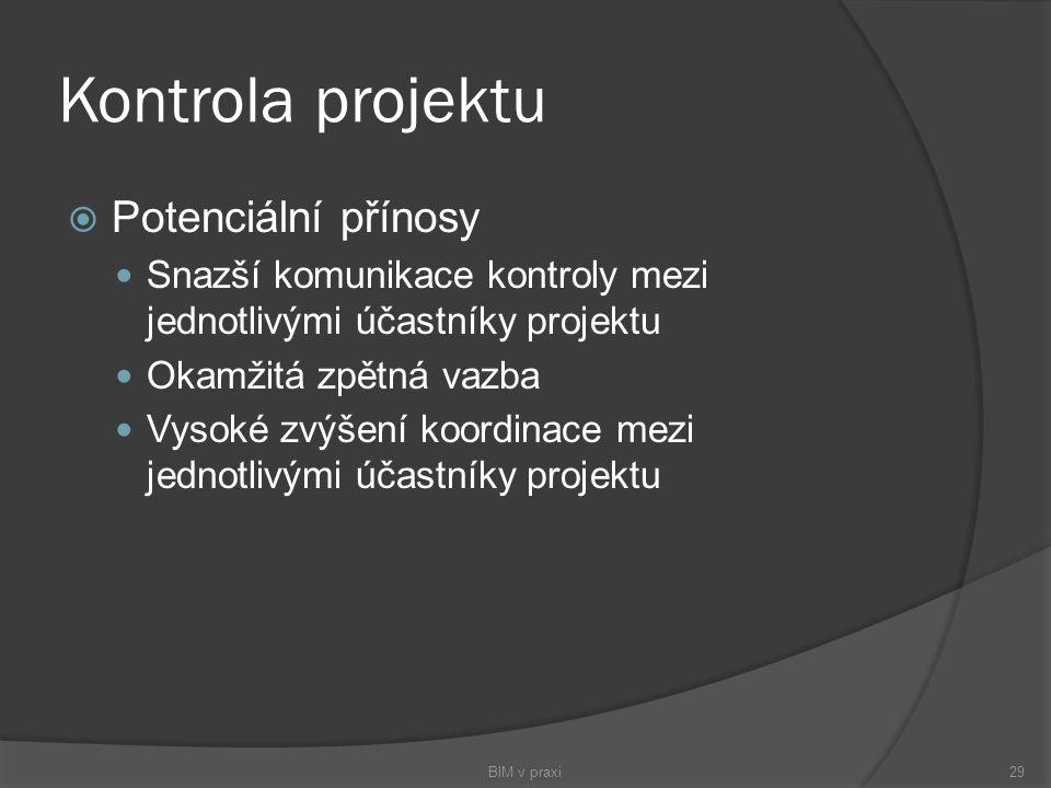 Kontrola projektu  Potenciální přínosy Snazší komunikace kontroly mezi jednotlivými účastníky projektu Okamžitá zpětná vazba Vysoké zvýšení koordinac
