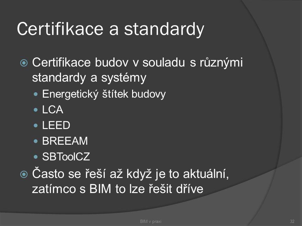 Certifikace a standardy  Certifikace budov v souladu s různými standardy a systémy Energetický štítek budovy LCA LEED BREEAM SBToolCZ  Často se řeší