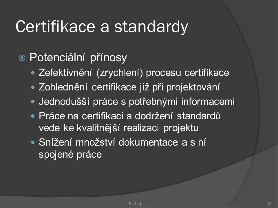 Certifikace a standardy  Potenciální přínosy Zefektivnění (zrychlení) procesu certifikace Zohlednění certifikace již při projektování Jednodušší prác