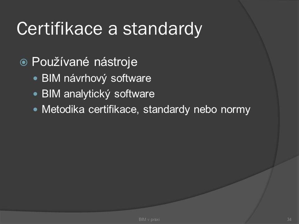 Certifikace a standardy  Používané nástroje BIM návrhový software BIM analytický software Metodika certifikace, standardy nebo normy BIM v praxi34