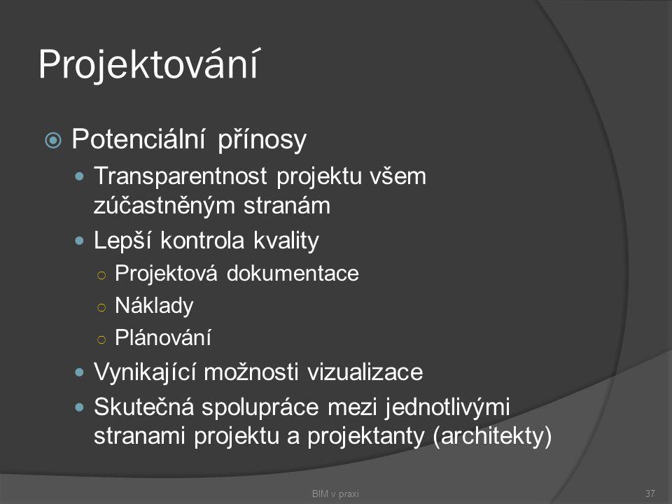 Projektování  Potenciální přínosy Transparentnost projektu všem zúčastněným stranám Lepší kontrola kvality ○ Projektová dokumentace ○ Náklady ○ Pláno