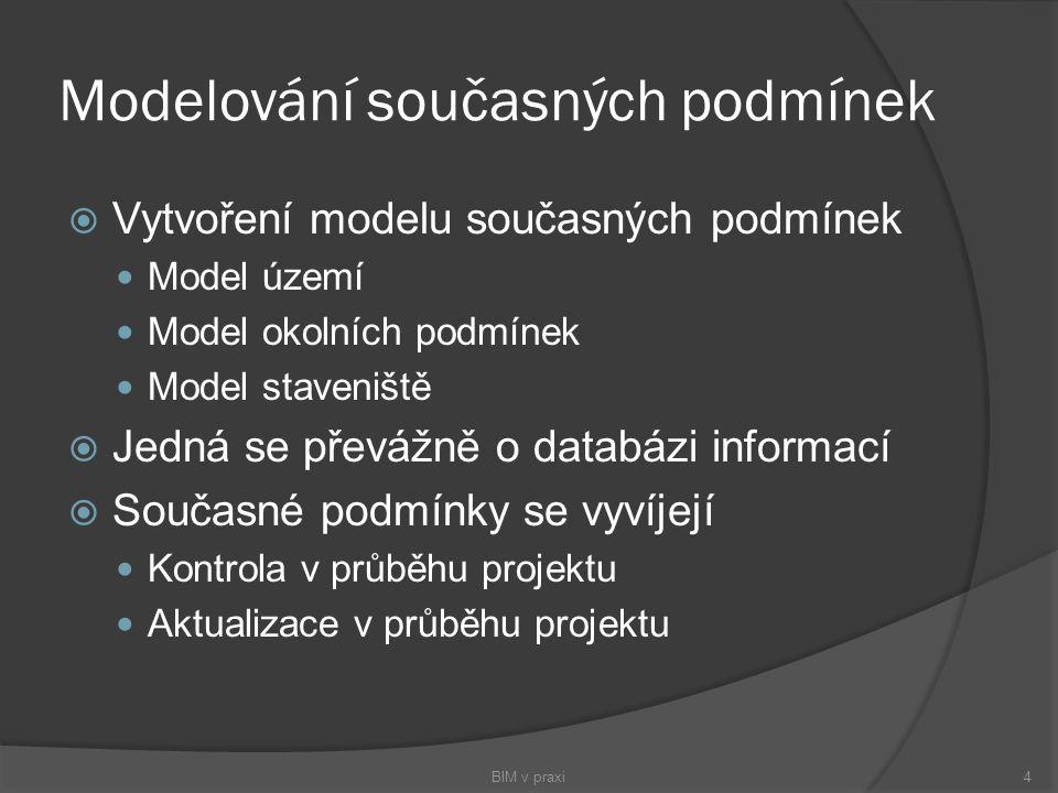 Modelování současných podmínek  Vytvoření modelu současných podmínek Model území Model okolních podmínek Model staveniště  Jedná se převážně o datab