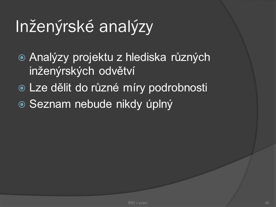 Inženýrské analýzy  Analýzy projektu z hlediska různých inženýrských odvětví  Lze dělit do různé míry podrobnosti  Seznam nebude nikdy úplný BIM v