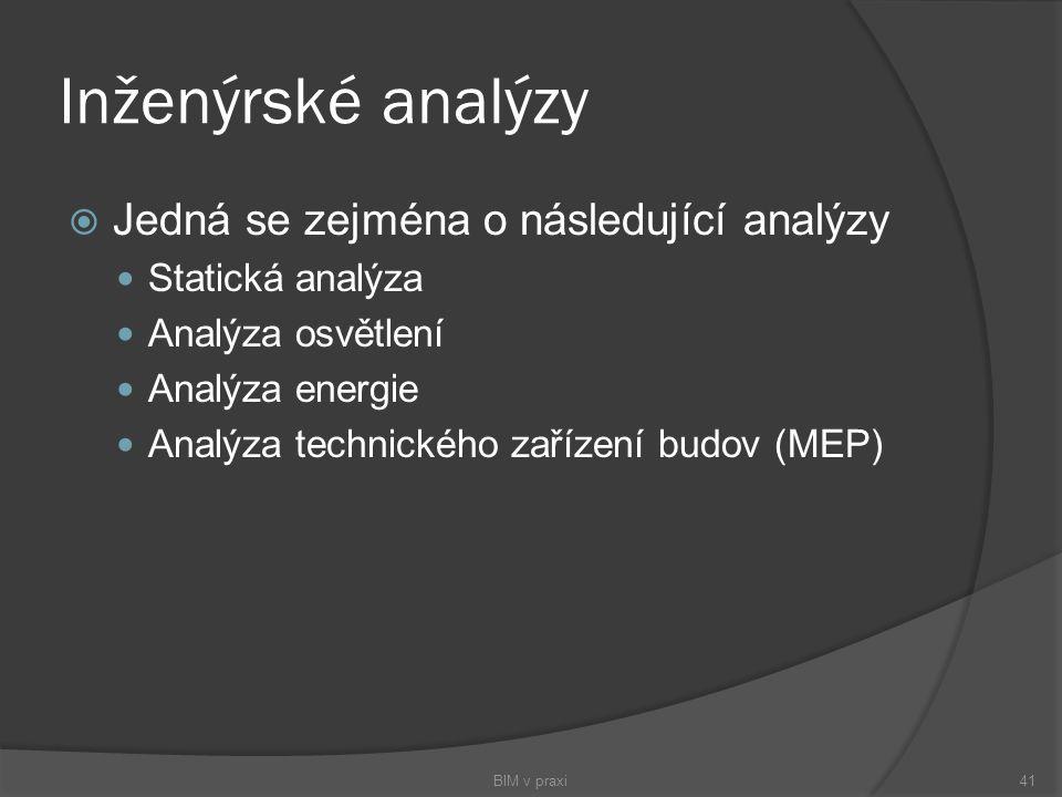 Inženýrské analýzy  Jedná se zejména o následující analýzy Statická analýza Analýza osvětlení Analýza energie Analýza technického zařízení budov (MEP
