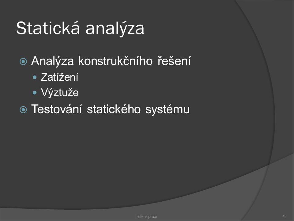 Statická analýza  Analýza konstrukčního řešení Zatížení Výztuže  Testování statického systému BIM v praxi42