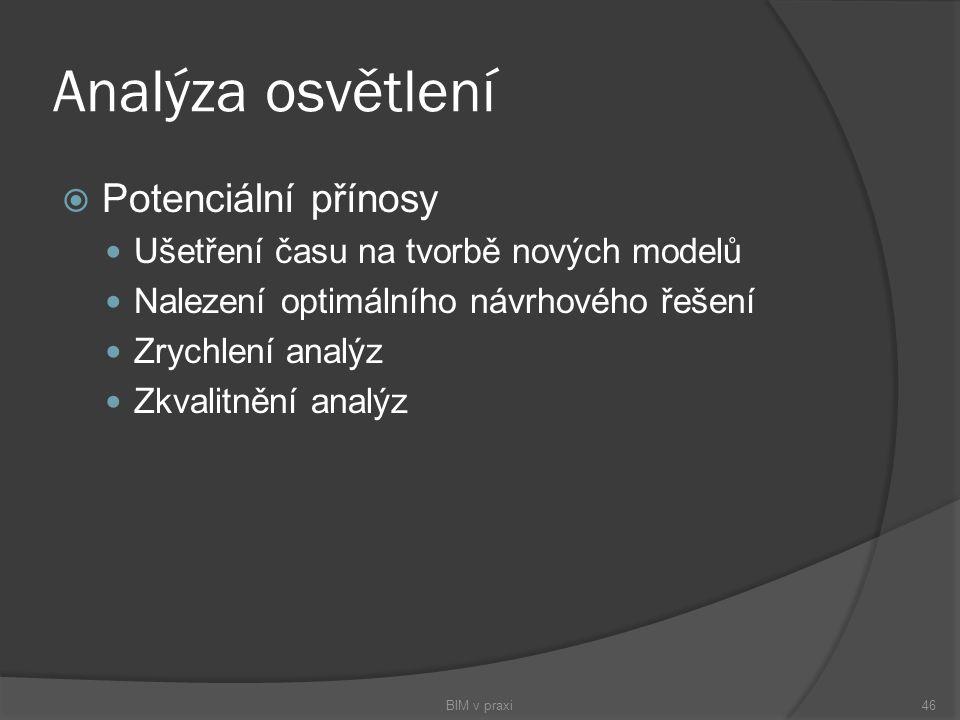 Analýza osvětlení  Potenciální přínosy Ušetření času na tvorbě nových modelů Nalezení optimálního návrhového řešení Zrychlení analýz Zkvalitnění anal