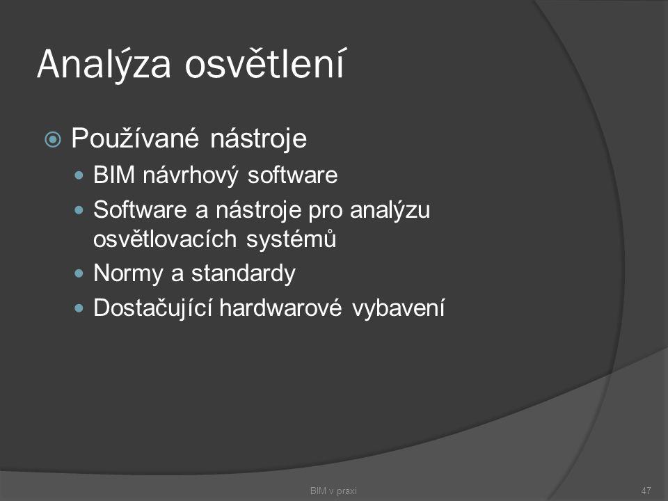 Analýza osvětlení  Používané nástroje BIM návrhový software Software a nástroje pro analýzu osvětlovacích systémů Normy a standardy Dostačující hardw