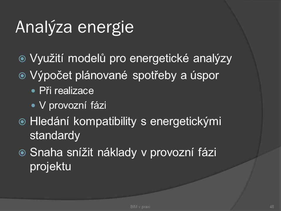 Analýza energie  Využití modelů pro energetické analýzy  Výpočet plánované spotřeby a úspor Při realizace V provozní fázi  Hledání kompatibility s