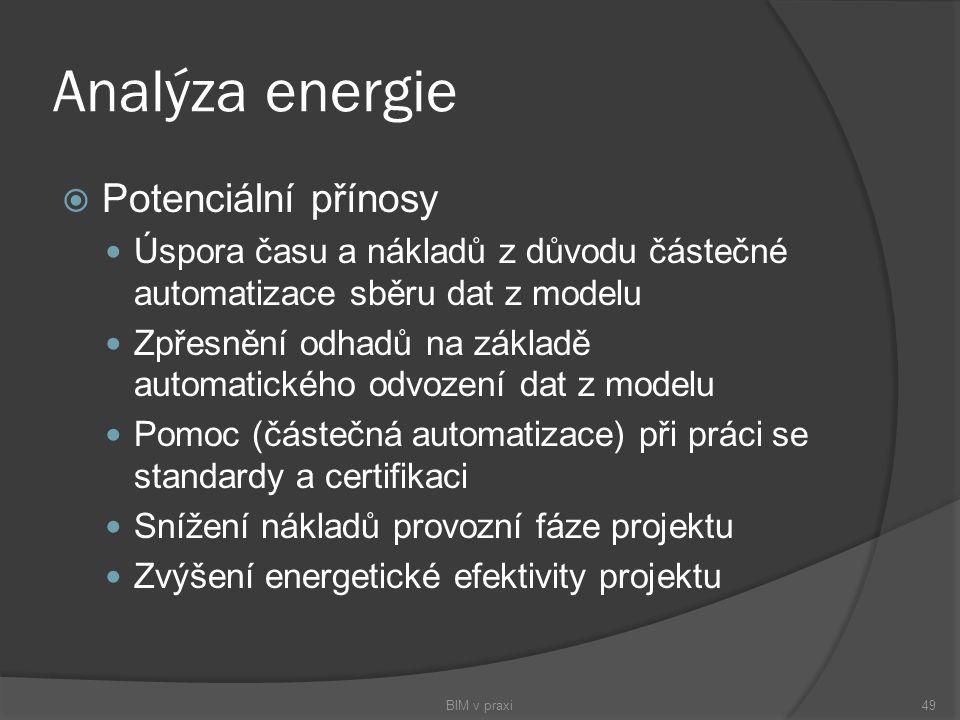 Analýza energie  Potenciální přínosy Úspora času a nákladů z důvodu částečné automatizace sběru dat z modelu Zpřesnění odhadů na základě automatickéh